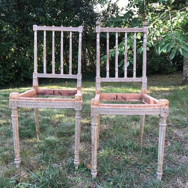 Petites chaises Louis XVI, restauration