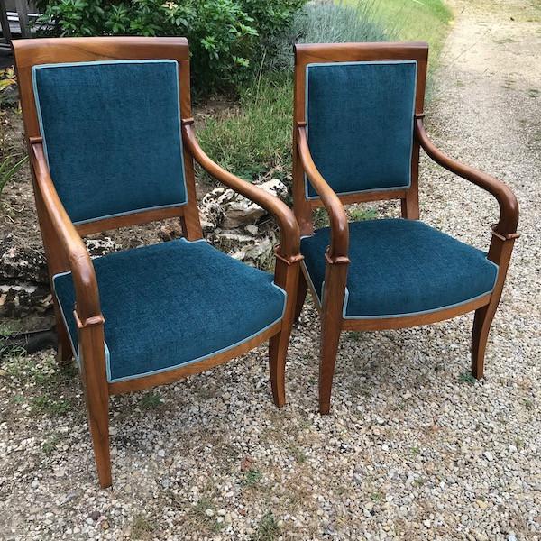 Paire de fauteuils style Empire