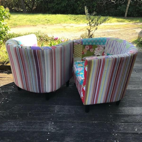 Paire de fauteuils Tonneau, restauration