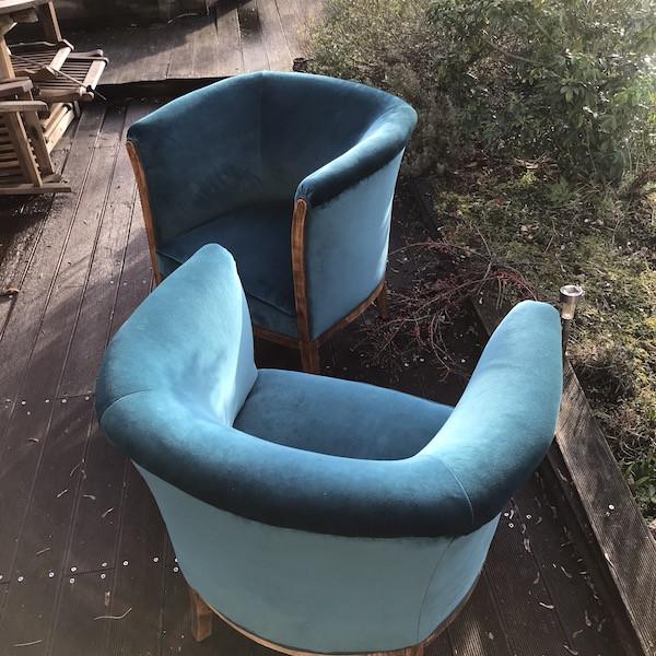 Paire de fauteuils Tonneau