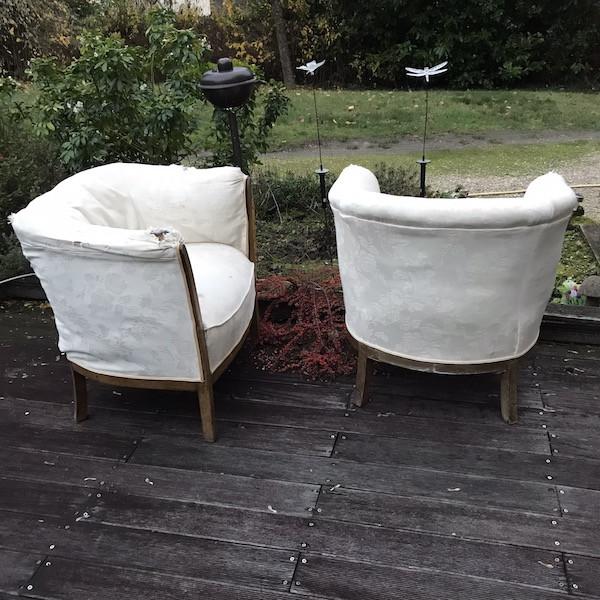 Paire de fauteuil Tonneau, restauration